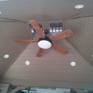 Cathedral ceiling of a gazebo with tongue and grove pine siding, fan light and pot lights in Voughan Ontario, built by SKL Group in 2012