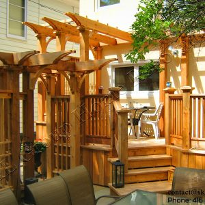 Red Western Cedar Wood Deck and Pergola-Built inToronto 2009