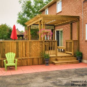 Free Floating Deck and Pergola with retractable canopy-Pickering Ontario built by SKL Group