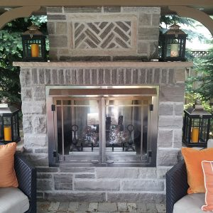Gazebo with a fire place in Vaughan Ontario, built by SKL Group in 2012