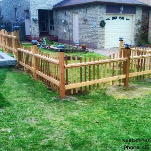 Cedar picket fence in Markham Ontario